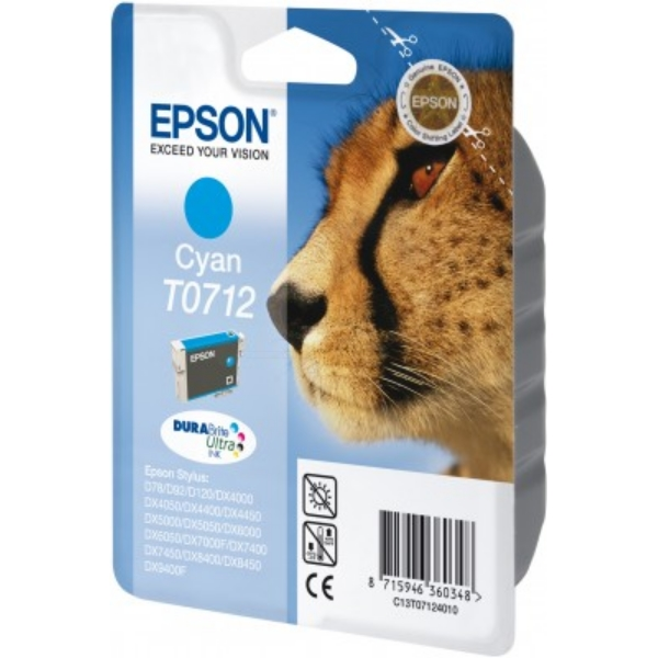 Original Epson C13T07124011 / T0712 Ink cartridge cyan