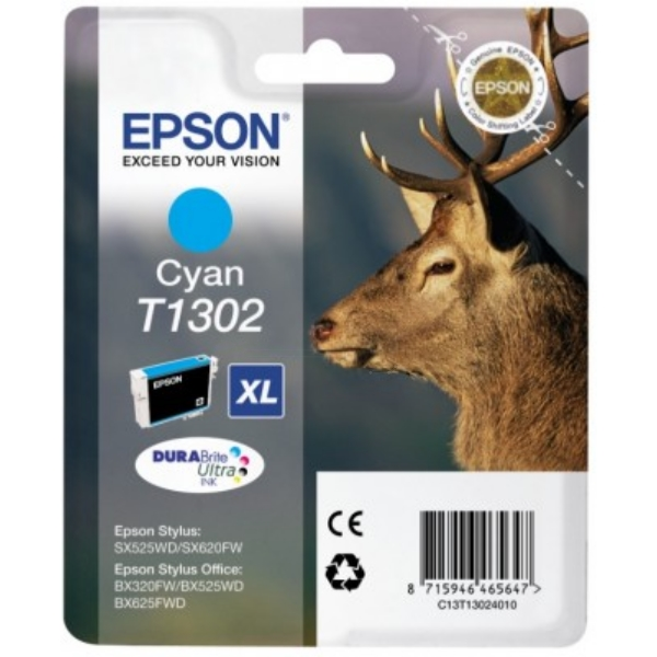Original Epson C13T13024010 / T1302 Ink cartridge cyan