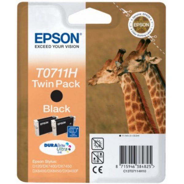 Original Epson C13T07114H10 / T0711H Tintenpatrone schwarz