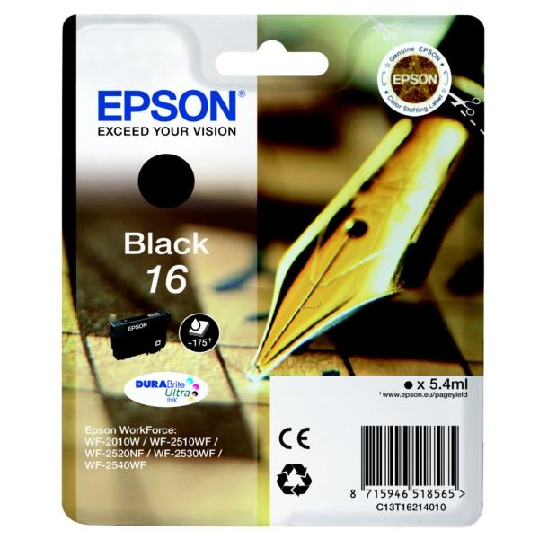 Oryginalny Epson C13T16214010 / 16 Wklad atramentowy czarny