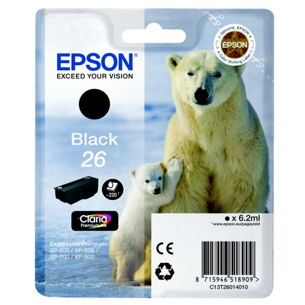 Original Epson C13T26014010 / 26 Ink cartridge black