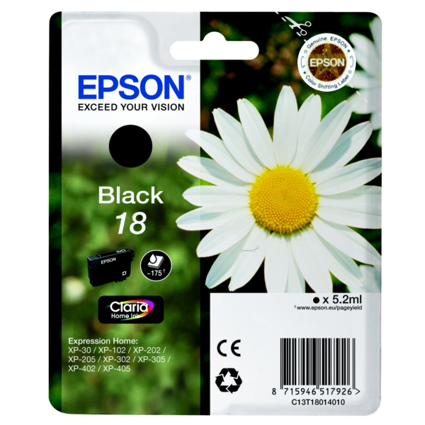 Original Epson C13T18014010 / 18 Ink cartridge black