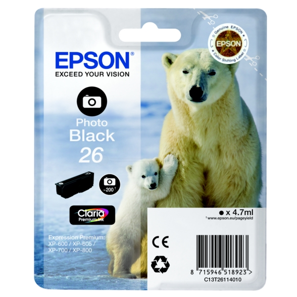 Original Epson C13T26114010 / 26 Ink cartridge bright black