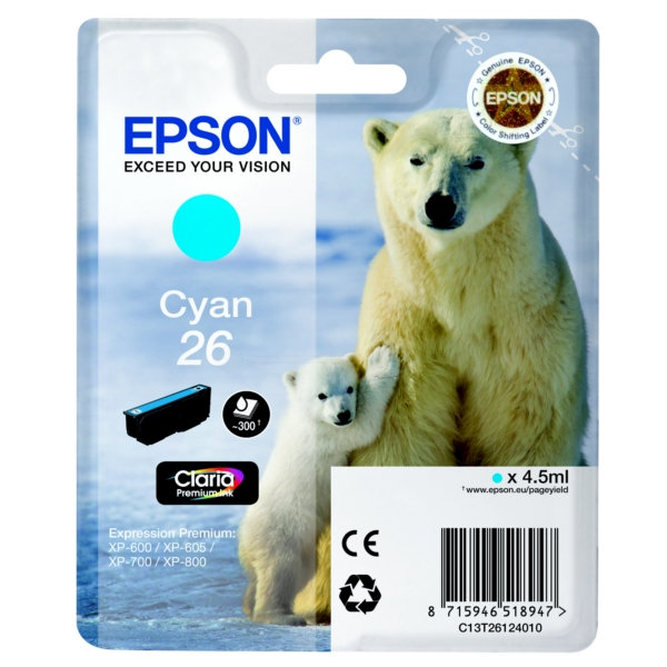 Original Epson C13T26124010 / 26 Ink cartridge cyan
