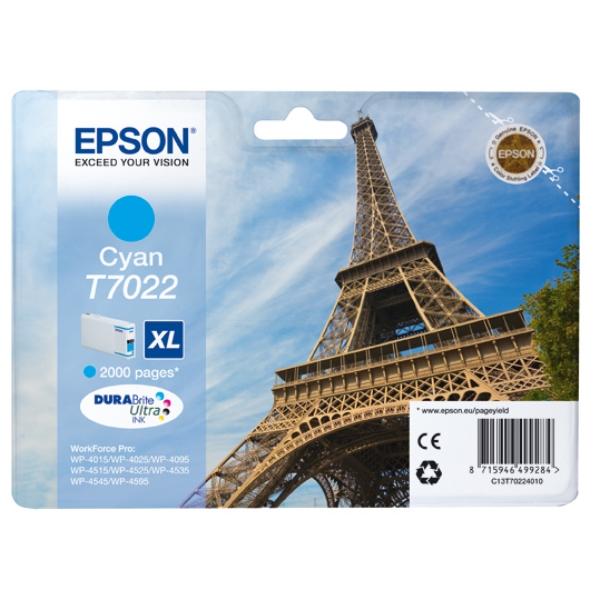 Original Epson C13T70224010 / T7022 Tintenpatrone cyan
