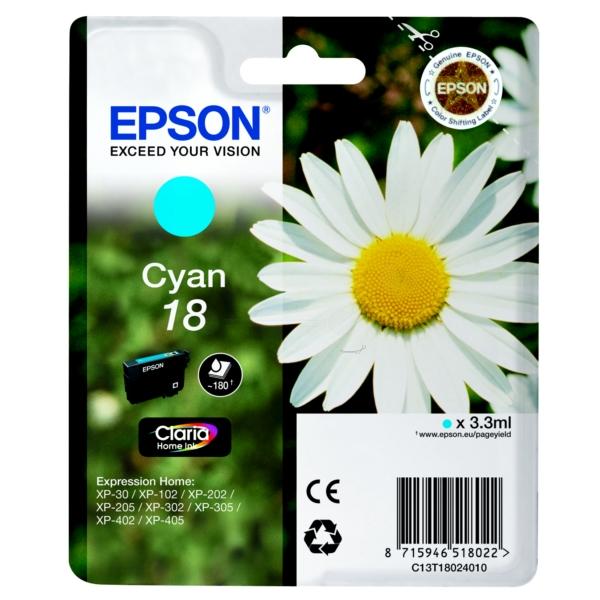 Oryginalny Epson C13T18024010 / 18 Wklad atramentowy cyjan