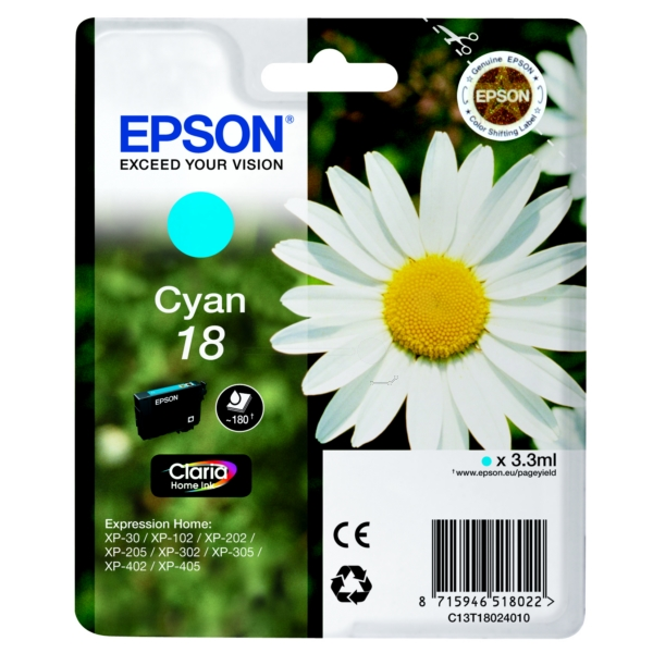 Original Epson C13T18024010 / 18 Tintenpatrone cyan
