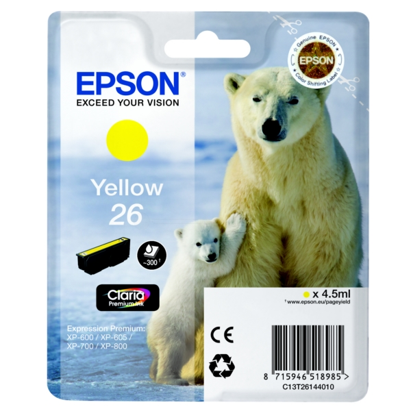 Original Epson C13T26144010 / 26 Ink cartridge yellow