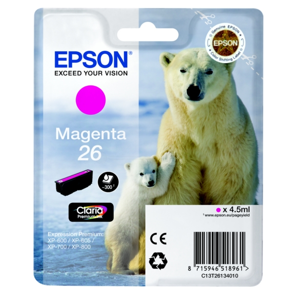 Original Epson C13T26134010 / 26 Ink cartridge magenta