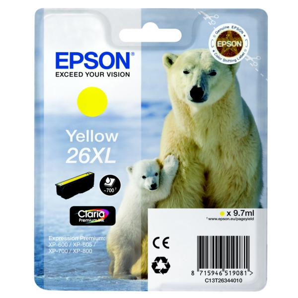 Original Epson C13T26344010 / 26XL Ink cartridge yellow