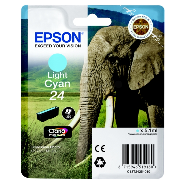 Original Epson C13T24254010 / 24 Tintenpatrone cyan hell