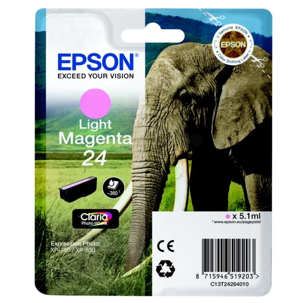 Original Epson C13T24264010 / 24 Tintenpatrone magenta hell