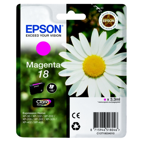 Original Epson C13T18034010 / 18 Ink cartridge magenta
