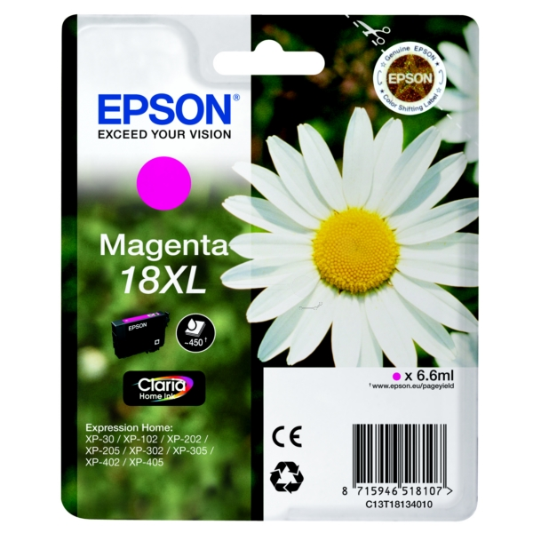 Original Epson C13T18134010 / 18XL Ink cartridge magenta