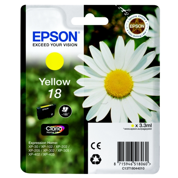Original Epson C13T18044010 / 18 Ink cartridge yellow