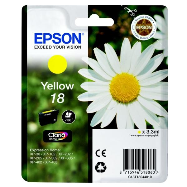 Original Epson C13T18044010 / 18 Tintenpatrone gelb