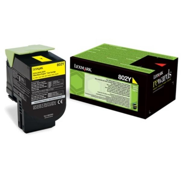 Original Lexmark 80C20Y0 / 802Y Toner gelb