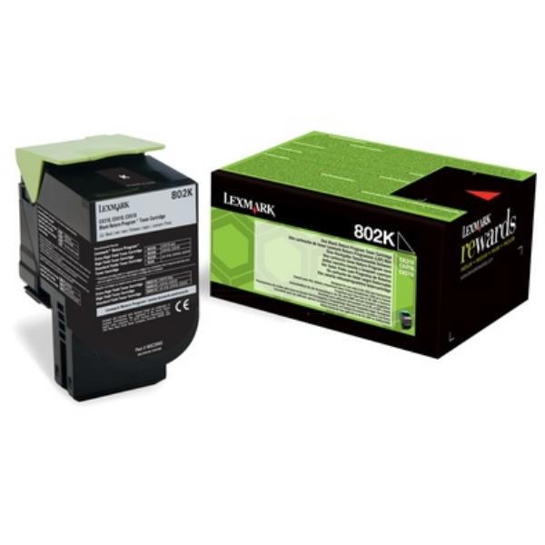 Original Lexmark 80C20K0 / 802K Toner noir