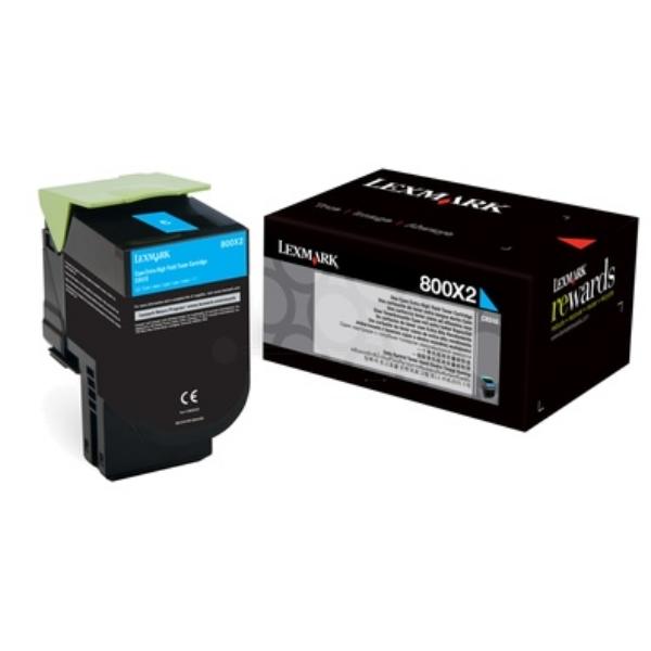 Original Lexmark 80C0X20 / 800X2 Toner cyan