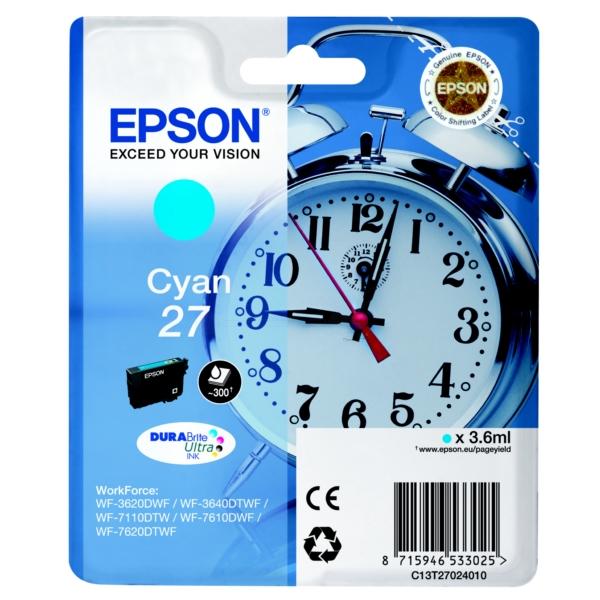 Original Epson C13T27024010 / 27 Tintenpatrone cyan