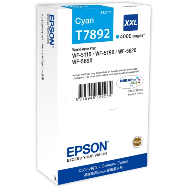 Original Epson C13T789240 / T7892 Tintenpatrone cyan