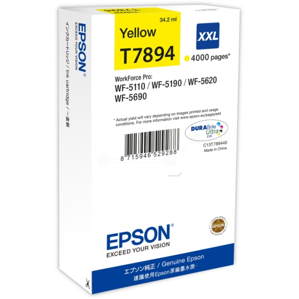 Original Epson C13T789440 / T7894 Tintenpatrone gelb