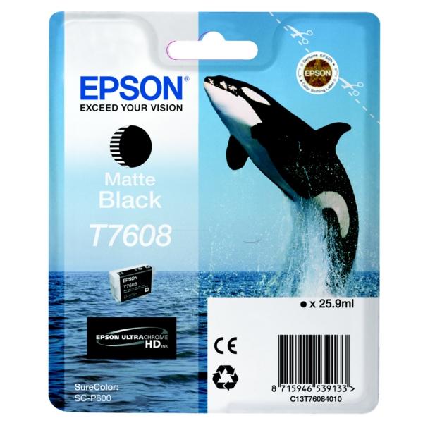 Original Epson C13T76084010 / T7608 Tintenpatrone schwarz matt