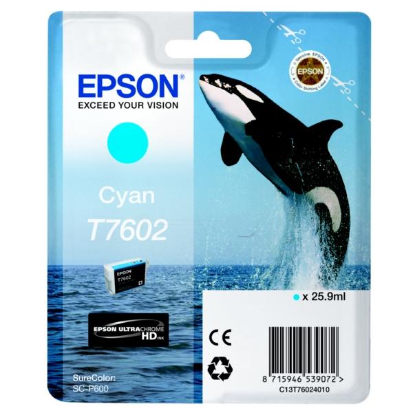 Original Epson C13T76024010 / T7602 Tintenpatrone cyan