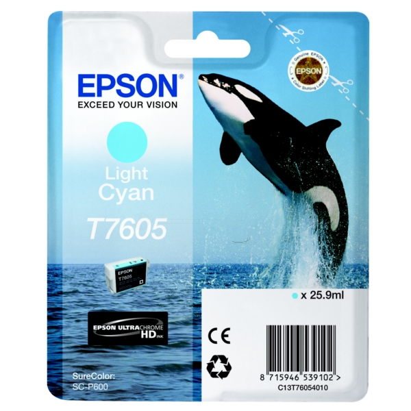 Original Epson C13T76054010 / T7605 Tintenpatrone cyan hell