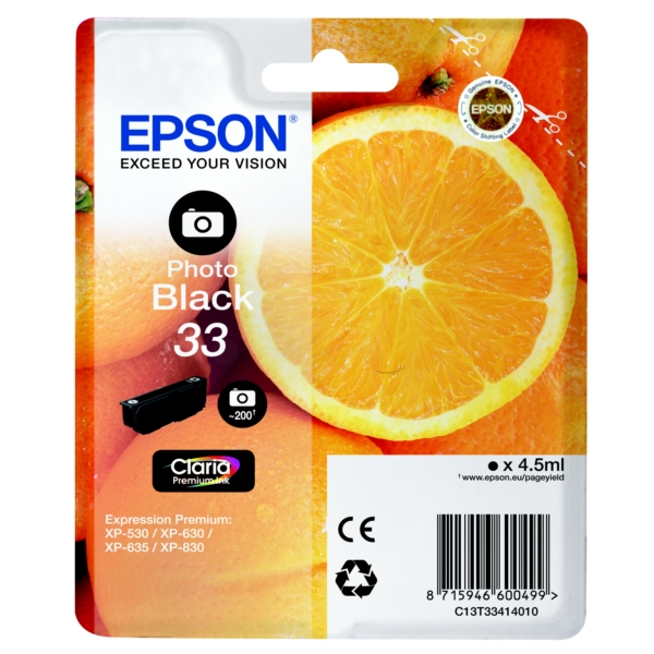 Original Epson C13T33414010 / 33 Ink cartridge bright black