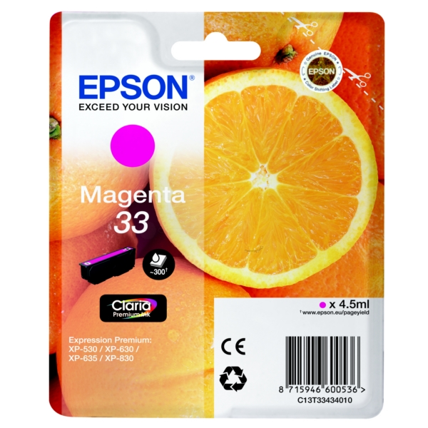 Original Epson C13T33434010 / 33 Ink cartridge magenta