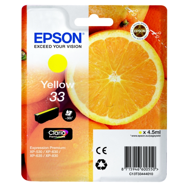 Original Epson C13T33444010 / 33 Tintenpatrone gelb