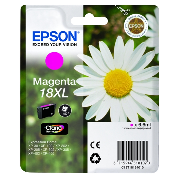 Original Epson C13T18134022 / 18XL Ink cartridge magenta