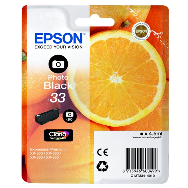 Original Epson C13T33414012 / 33 Ink cartridge bright black