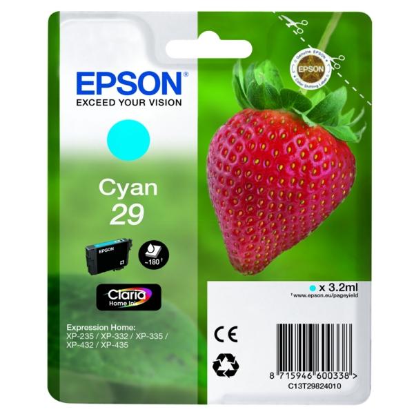 Original Epson C13T29824012 / 29 Tintenpatrone cyan