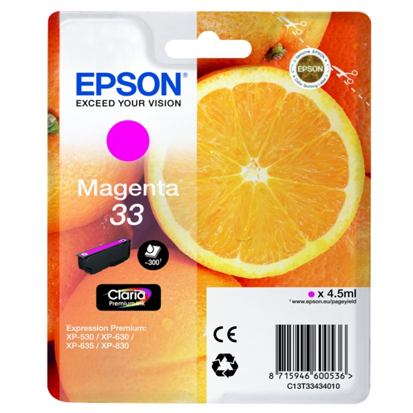 Original Epson C13T33434012 / 33 Ink cartridge magenta
