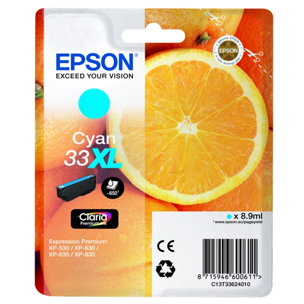 Original Epson C13T33624012 / 33XL Ink cartridge cyan