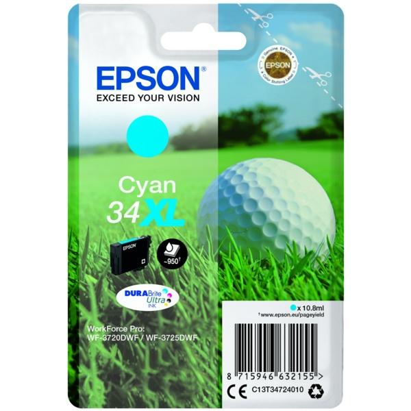 Original Epson C13T34724020 / 34XL Tintenpatrone cyan