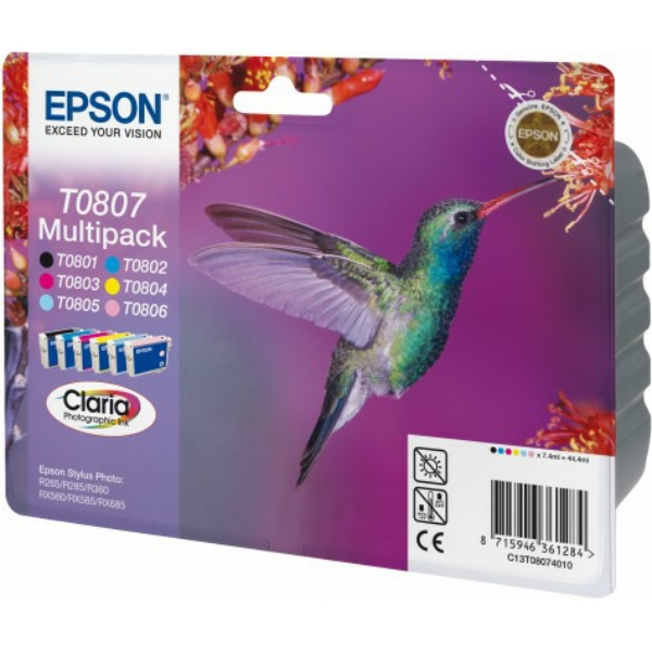 Original Epson C13T08074021 / T0807 Tintenpatrone MultiPack