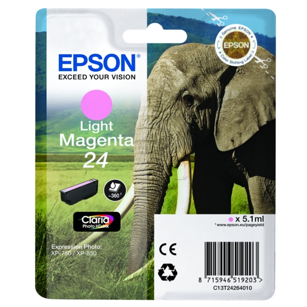 Original Epson C13T24264022 / 24 Tintenpatrone magenta hell