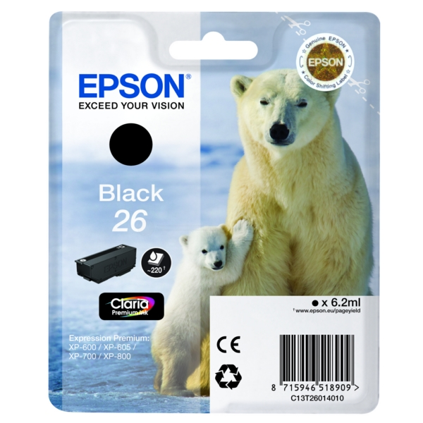 Original Epson C13T26014022 / 26 Ink cartridge black