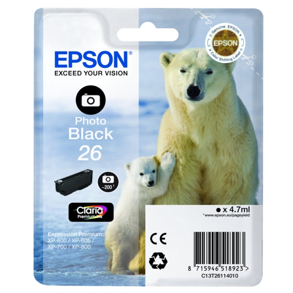 Original Epson C13T26114022 / 26 Ink cartridge bright black