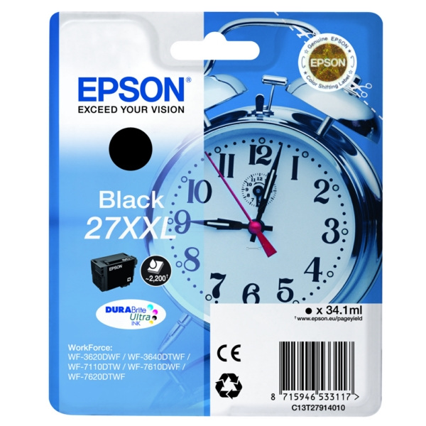 Original Epson C13T27914012 / 27XXL Ink cartridge black