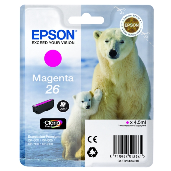 Original Epson C13T26134022 / 26 Ink cartridge magenta
