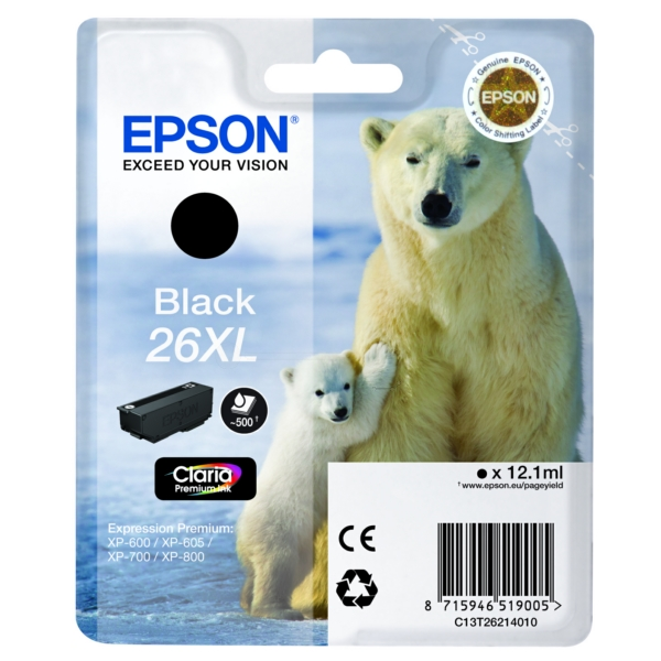 Original Epson C13T26214022 / 26XL Tintenpatrone schwarz