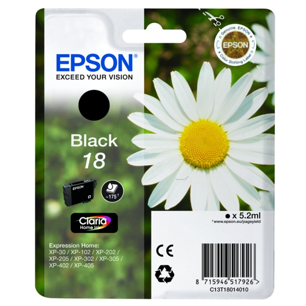 Original Epson C13T18014012 / 18 Ink cartridge black