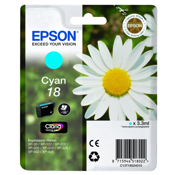 Original Epson C13T18024022 / 18 Ink cartridge cyan