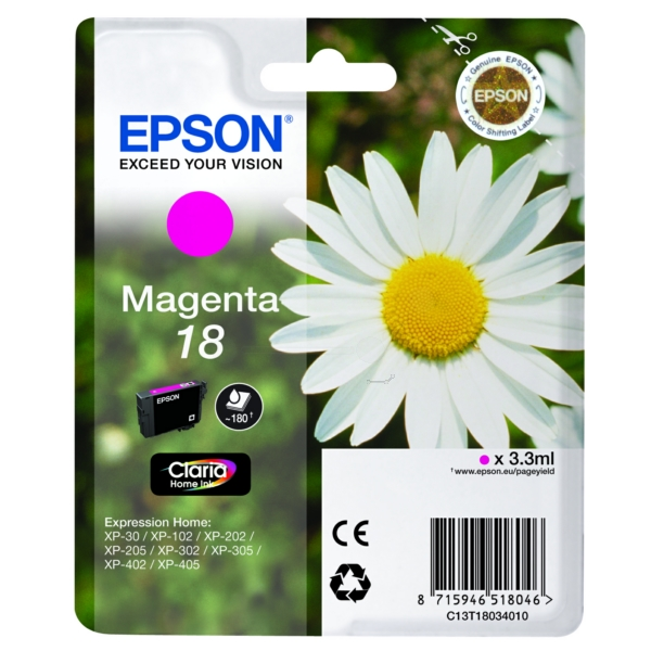 Original Epson C13T18034012 / 18 Ink cartridge magenta
