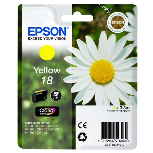 Original Epson C13T18044012 / 18 Ink cartridge yellow