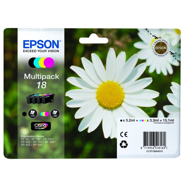 Original Epson C13T18064012 / 18 Ink cartridge multi pack